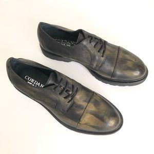 Cordani Calzature Alexa Black Gold Leather Oxfords